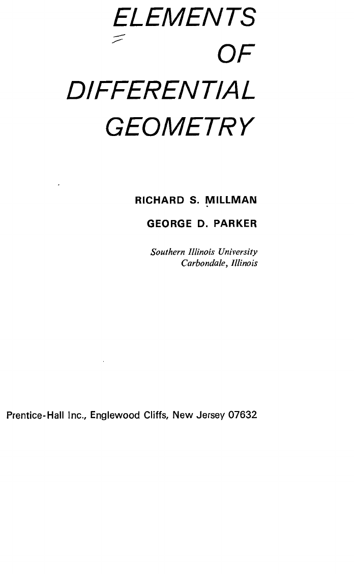 Elements of Differential Geometry (Millman-Parker)