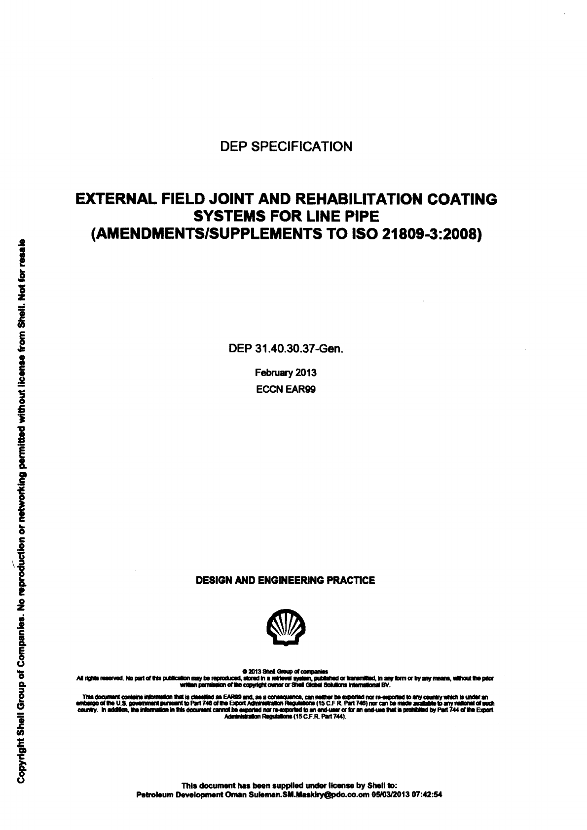 Dep 31 40 30 37 External Field Joint And Rehabilitation Coating Systems For Line Pipe