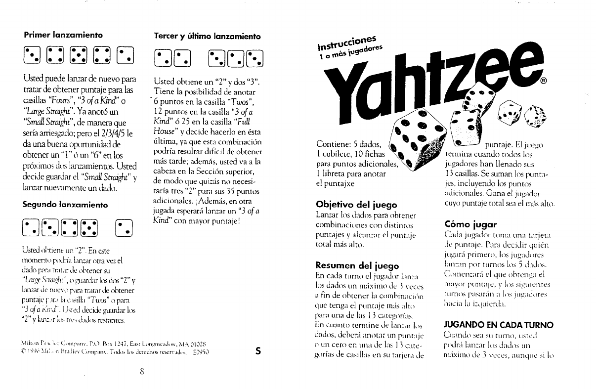 photo relating to Yahtzee Rules Printable named Spanish Yahtzee Pointers