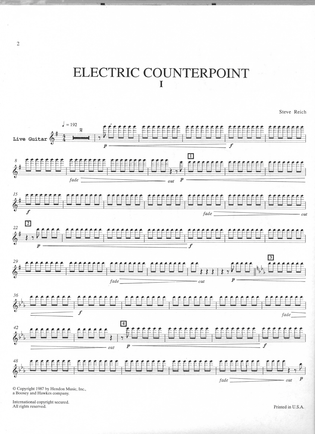 score and part sheet music; Reich Electric Counterpoint score /& part Steve