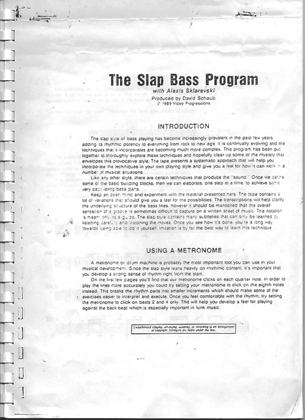 Alexis Sklarevski Slap Bass Program Pdf