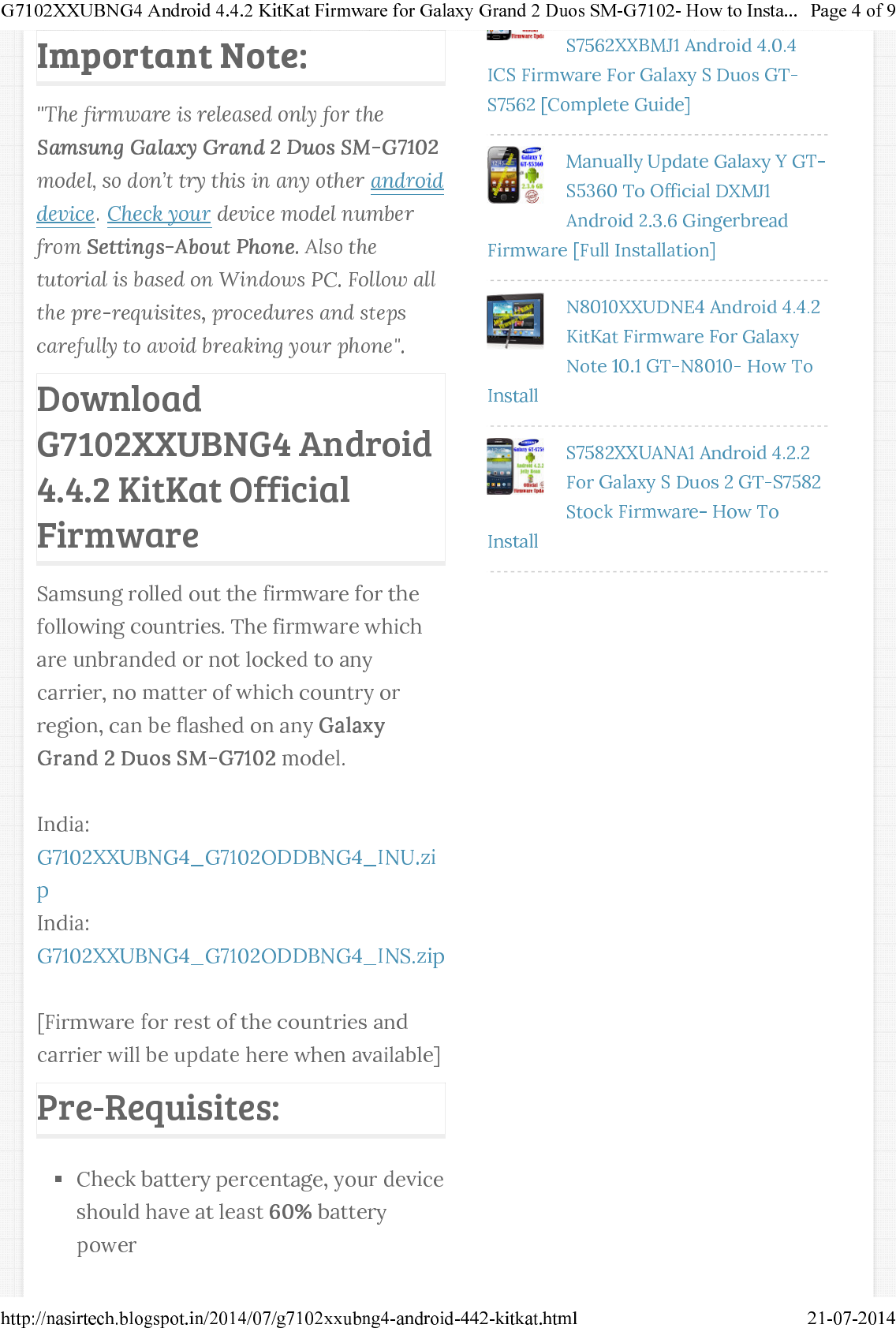 Android 4 4 2 KitKat Firmware for Galaxy Grand 2 Duos SM