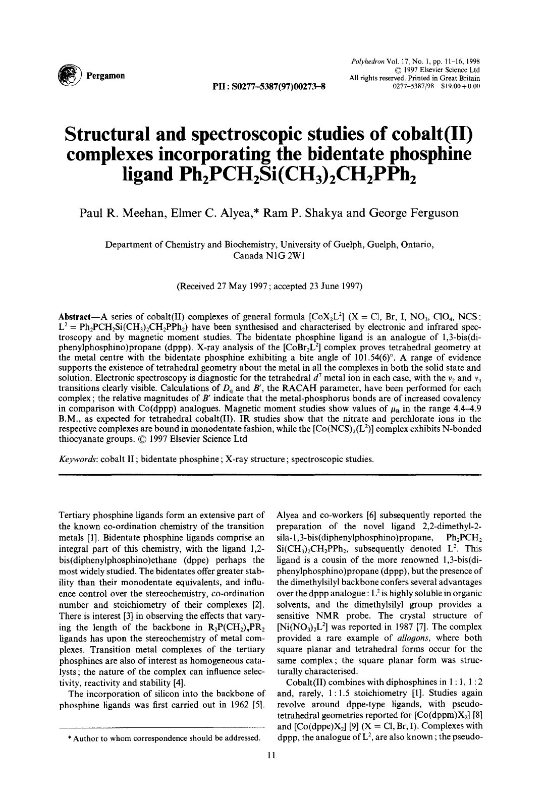 Structural And Spectroscopic Studies Of Cobalt Ii Complexes Incorporating The Bidentate Phosphine Ligand Ph2pch2si Ch3 2ch2pph2 Pdf Document