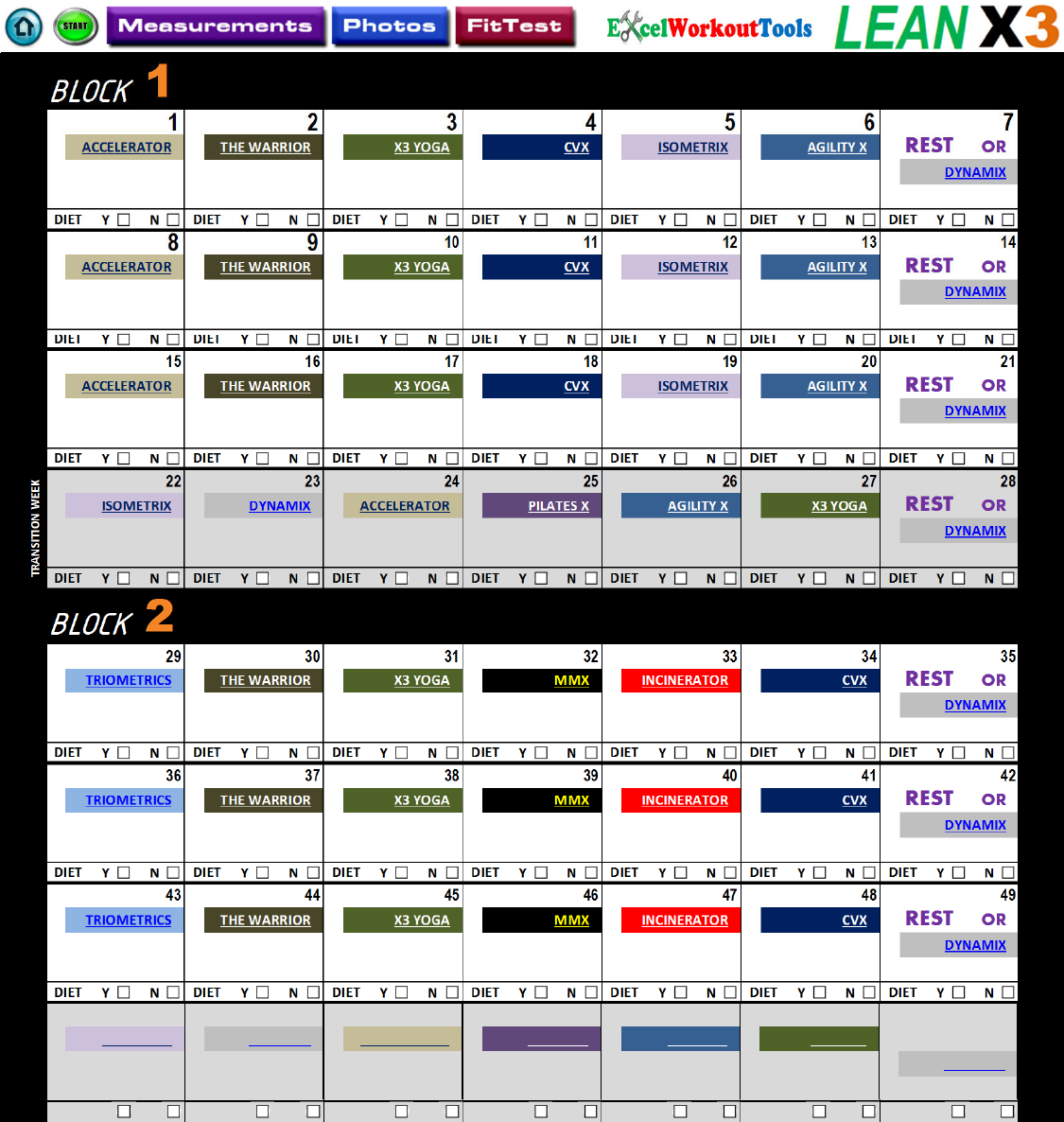 Master Workout Calendar for use with P90X3 - LEAN X3 PDF