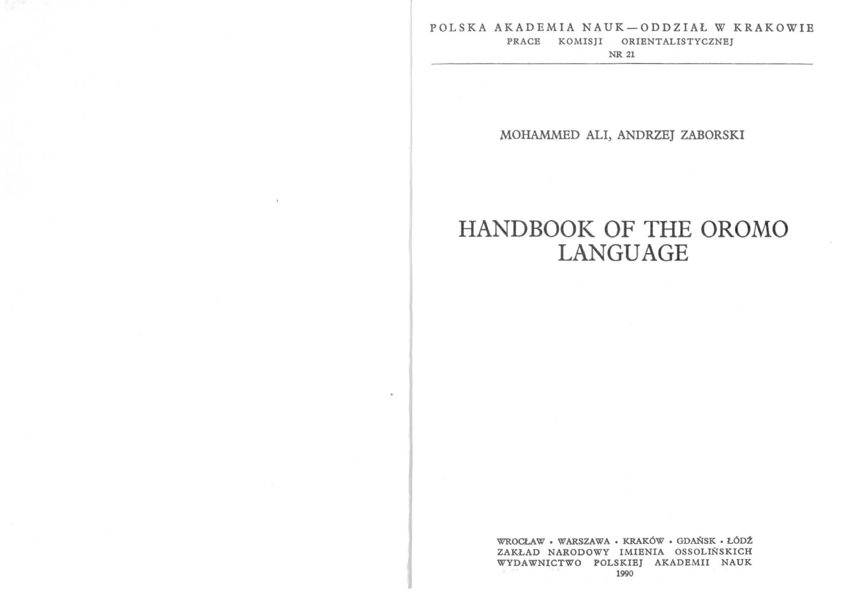 07 Handbook of the Oromo Language pdf