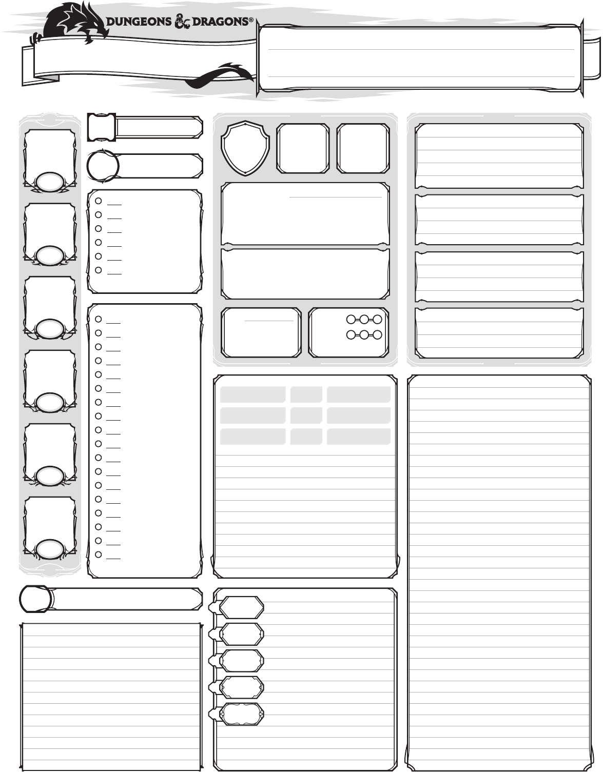 picture regarding Printable Dnd Character Sheet called DD 5E Temperament Sheet - Print Variation