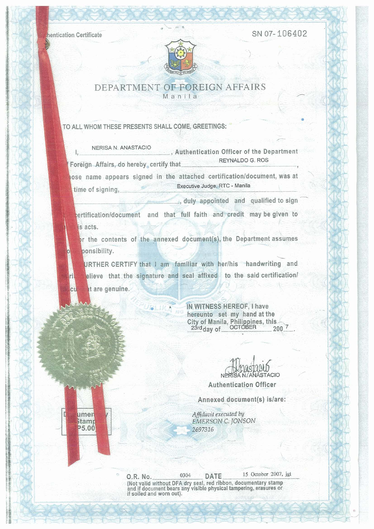 RTC Certified True Copy re Certificate of Employment Training