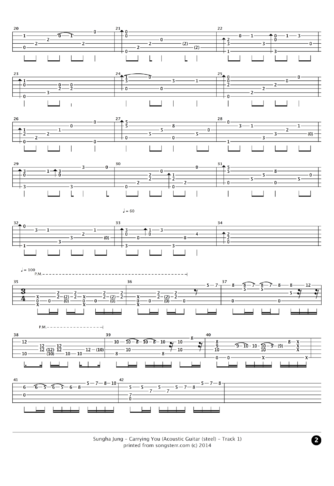 Carrying You Tab by Sungha Jung _ Songsterr Tabs With Rhythm